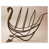 Brass, swan form mid century magazine rack