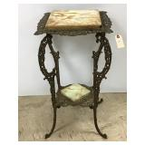 Victorian brass and marble top stand