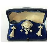 Victorian seed pearl pin and earring set