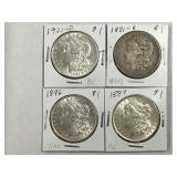 (4)  Diff Morgan Silver Dollars