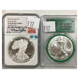 (2) Diff Silver Eagle $1.00 Coins