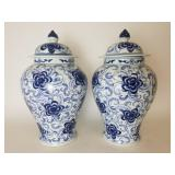 Pair of Asian pottery ginger jars