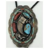 Bennett Navajo Turquoise,Coral, claw Bolo tie