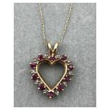 10 karat yellow gold heart necklace on thin chain