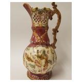 Large pottery Majolica ewer
