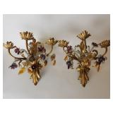 Pair of metal 3 lite sconces with many crystals