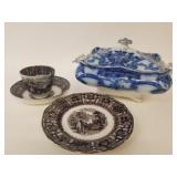 Flo blue tureen and 3 pieces of transfer dishes