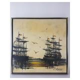 C. Roberts Oil painting of tall ships on canvas
