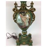 Sevres Hand-painted porcelain serpent lamp