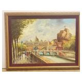 Oil on canvas by Michel, city river scene