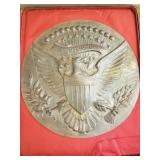 Bronze Presidential seal in wood presentation case