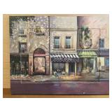 Mark St John signed oil on canvas street scene