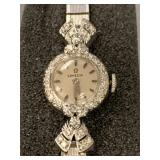14 karat white gold Omega ladies wrist watch