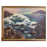 JE Todd signed oil on canvas ocean scene
