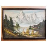 Oil on board mountain scene, artist signed