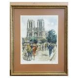 Notre Dame Cathedral print signed by artist