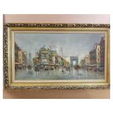 Paris street scene, oil on canvas, signed by