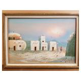 Oil on canvas, Pueblo Native American village