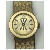 18 karat yellow gold omega wristwatch