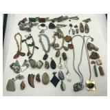Grouping of polished stone jewelry