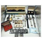 Grouping of costume jewelry rings & wrist watches