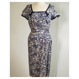 1950s Milton Saunders linen sheath dress