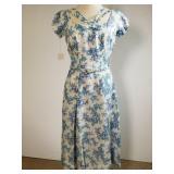1950s Milton Saunders floral linen dress