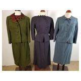 Three 1940-60s skirt suits