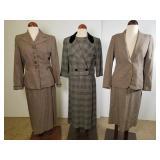 Three vintage wool suits, Larry Aldrich, etc