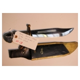 Case Bowie style V44 with leather & brass sheath