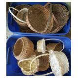 2 Blue Totes of Baskets