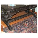 Carved Oak Library Table