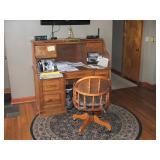 Oak Rolltop Desk & Chair