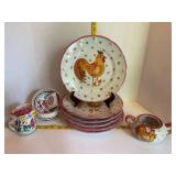 Solimene Vietri Made in Italy Rooster Dinnerware