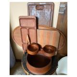 Wood Trays, Bowls and Salad Tongs