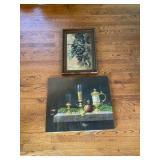 Framed Grape Scene & Canvas Dinner Scene