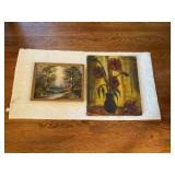 Signed Flowers on Canvas & Framed Stream