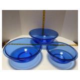 Cobalt Pyrex Mixing Bowls