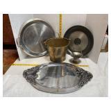 Metal Serving Trays & Bucket