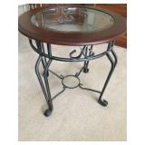 Mahogany Glass Top Round Lamp Table