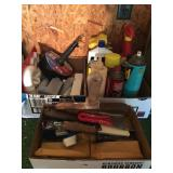 3 box lots putty knives, spray cans & plumbing