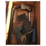 box lot trowels, hatchets, axe head, speed wrench