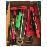 misc tool lot- pipe wrench, Levels & More