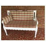 Porch bench with cushion