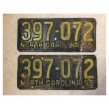 Matching pair of 1955 NC license plates
