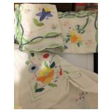hand stitched pillow cases, napkins etc