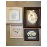 box lot of picture frames/prints