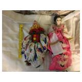 Asian dress porcelain doll and clown doll