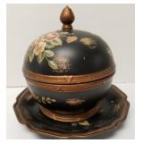 Floral lidded dish with plate