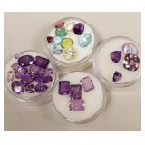 Group of purple and other gemstones